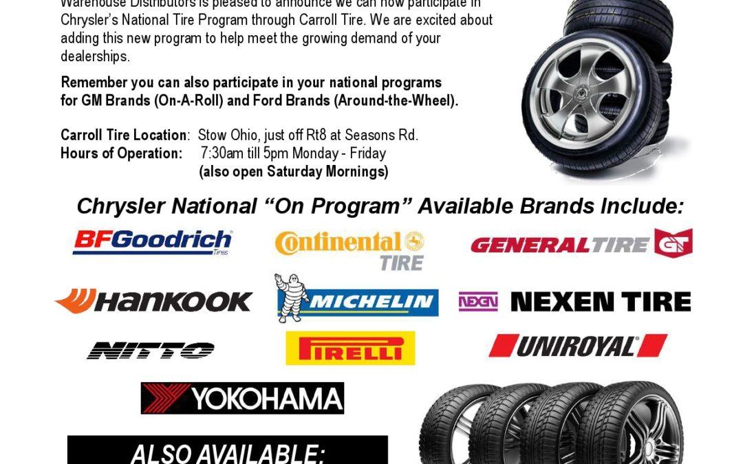 Chrysler National Tire Program Now Available Thru WDI