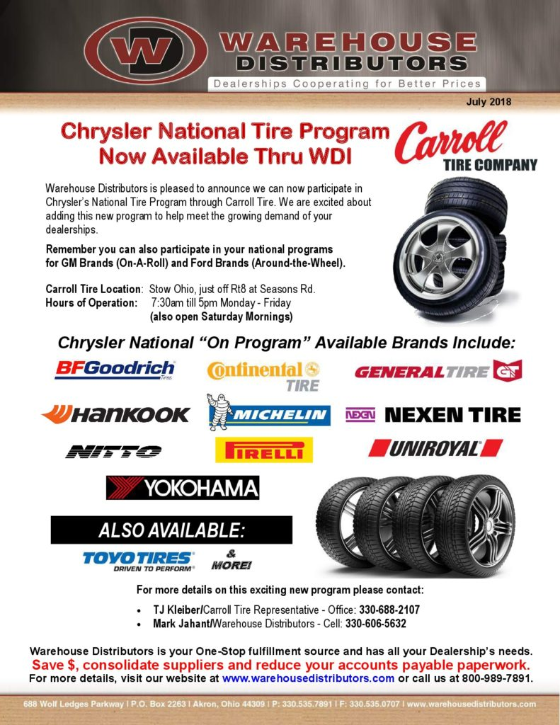 National Tire And Wheel >> Chrysler National Tire Program Now Available Thru Wdi